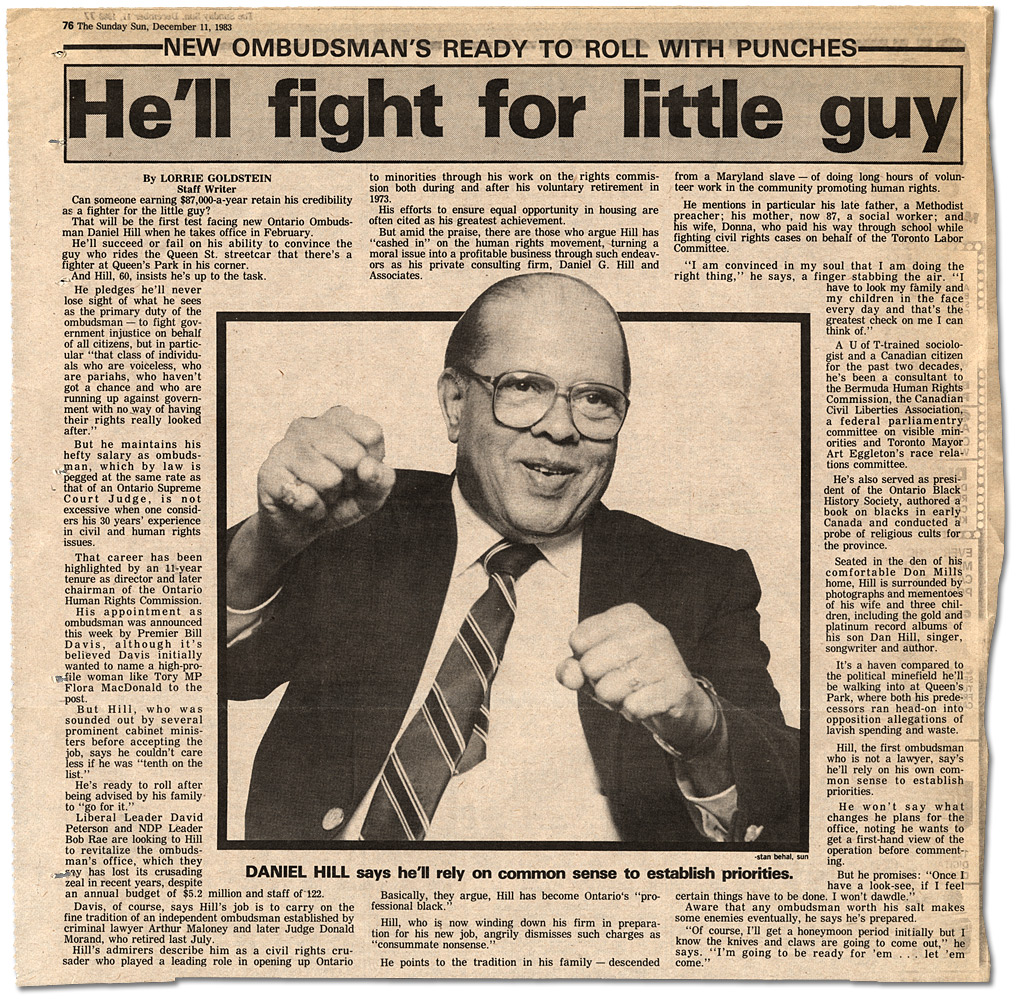 "Coupure du Sunday Sun, ""New Ombudsman's Ready to Roll with Punches – He'll fight for little guy"", 11 décembre 1983"