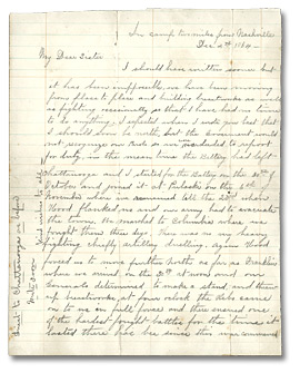 Letter, Alonzo Wolverton to his sitster Roseltha Wolverton Goble, le 4 décembre 1864 - Page 1