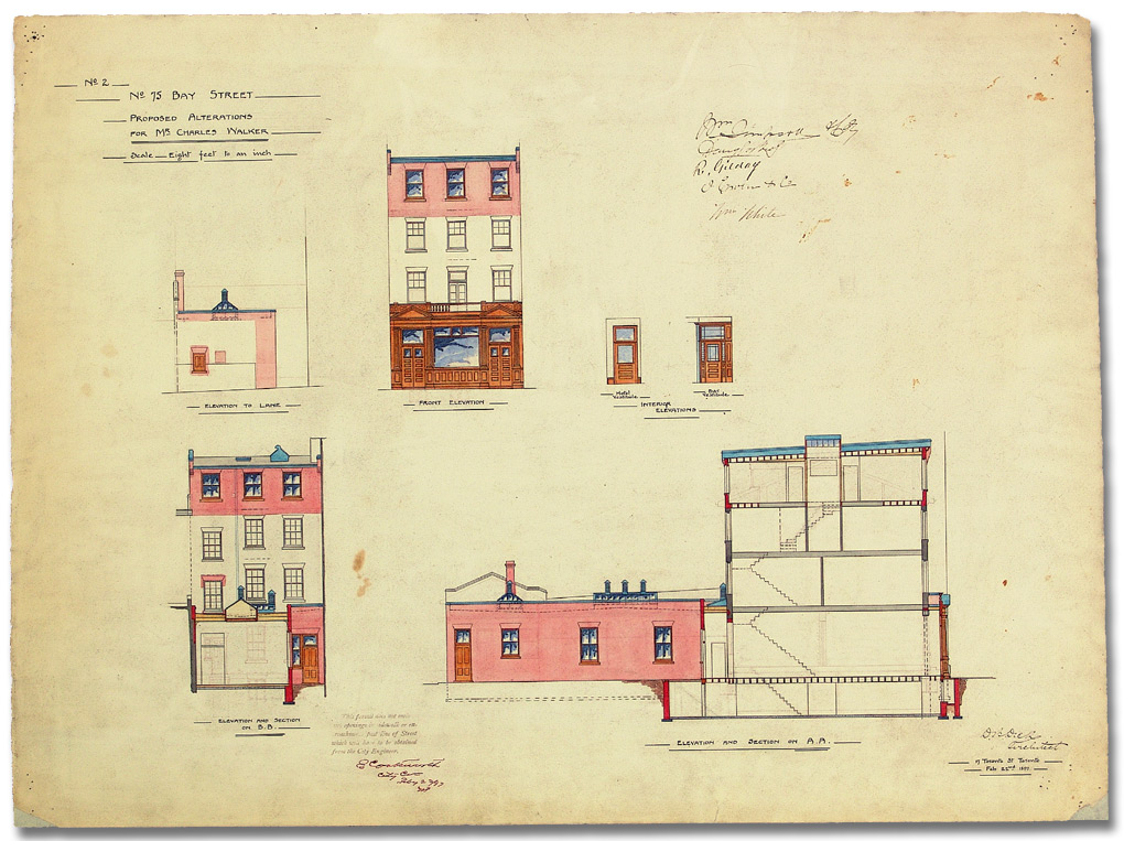 Dessin : No. 75 Bay Street, Proposed alterations for Mr. Charles Walker, 22 février 1897
