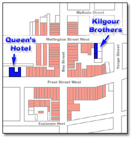 Map showing Kilgour Brothers and Queen's Hotel