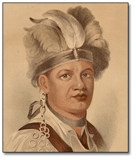 Gravure : Joseph Brant (Thayendanegea), Chief of the Six Nations, [1780] (détail)