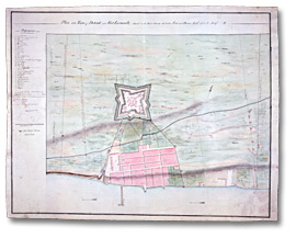 Carte : Plan of the Town of Détroit and Fort Lernoult, situated on the strait between Lakes Erie and Huron. . . taken from actual survey, 1792