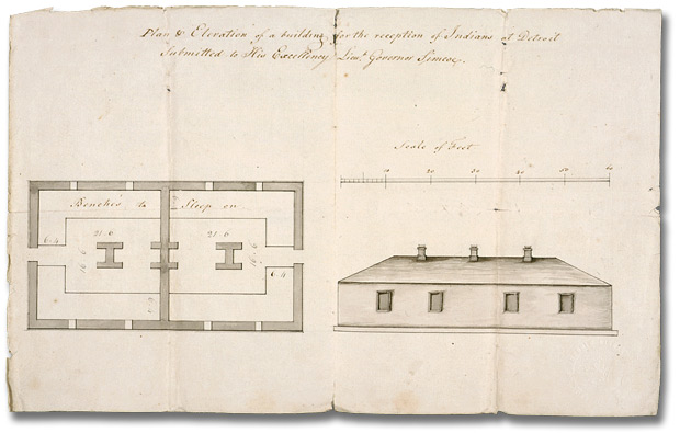 Dessin : Plan of elevation for a building for the reception of Indians at Détroit submitted to His Excellency Lieutenant Governor Simcoe, [vers 1790]