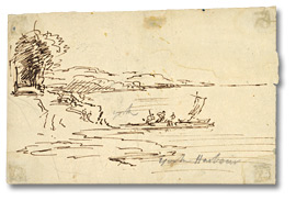 Dessin : York Harbour [July], [vers 1796], Toronto, Ontario