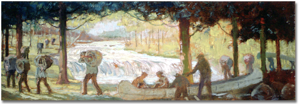 Painting: The Short Portage -- The Carrying Place, La Salle on the way over the Humber River to the Holland River and on to Lake Simcoe