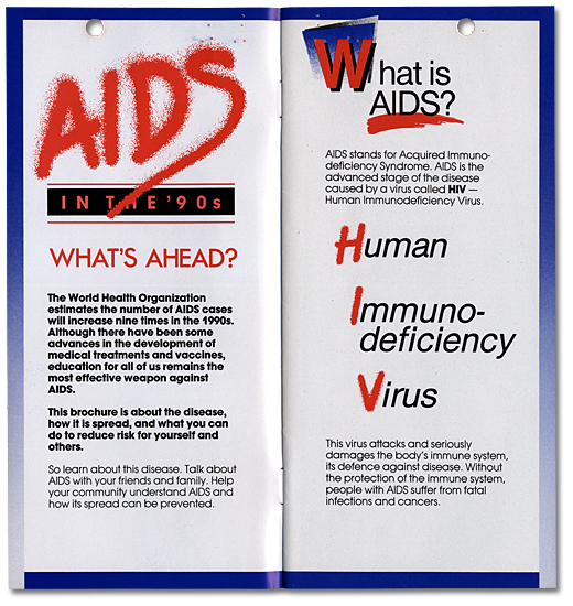 Aids in the '90s The New Facts of Life. Brochure, page couverture, 1989