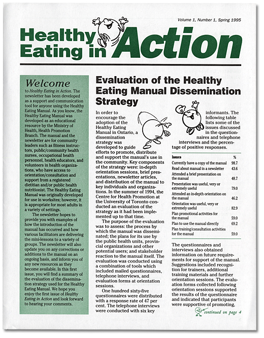 Health Eating in Action. Volume 1, numéro 1, printemps 1995 [page couverture]
