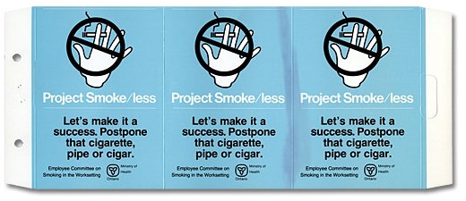 Image of Project Smoke/less, Courtesy, Consideration stand, 1986