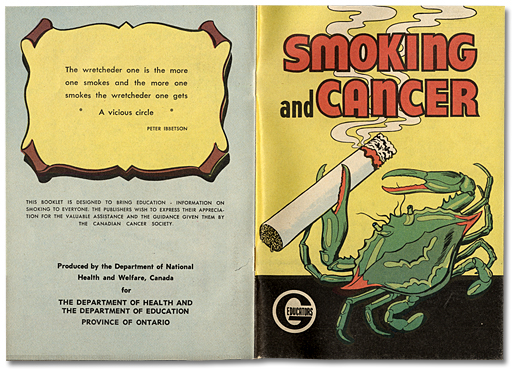Smoking and Cancer. Brochure, page couverture, 1963