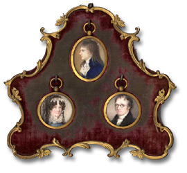 Image of three miniature portraits in a frame