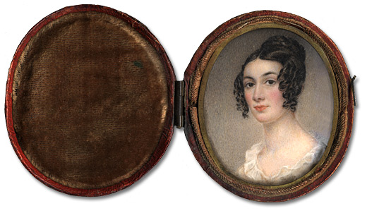 Aquarelle sur ivoire : Miss Harriet Lowe, 1836