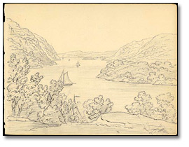 From the Hotel West Point, looking up the River, New York, 1837
