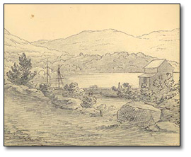 Land View from the Port at West Point (détail), New York, 1837