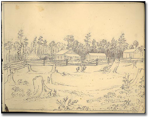 End view of John's house, Canada,1837 ou 1838