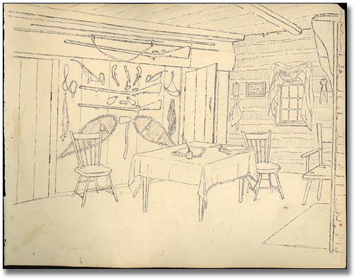 Interior of John's house [vue vers le nord], 1837