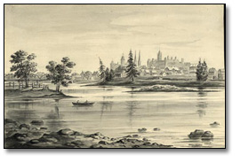 Ottawa from New Edinburgh [monochromatic watercolour], [vers 1876]