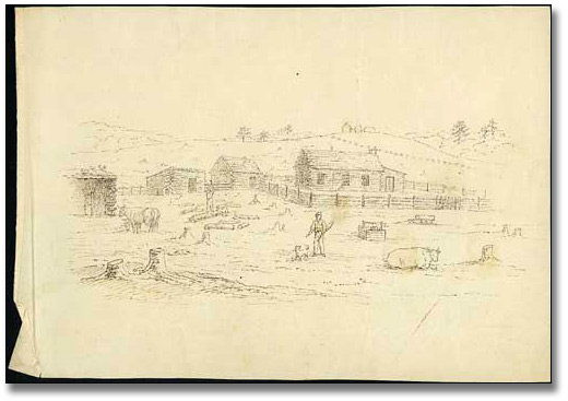 John Langton's cabin with surrounding buildings, 1834
