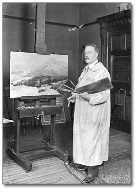 Photograpie : Robert Ford Gagen in his studio, [vers 1900]