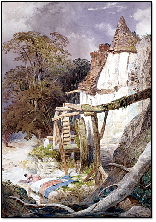 Aquarelle sur papier : Watermill near Berncastle, on the Moselle [Moulin à eau près de Berncastle, sur la Moselle], 1876