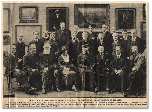 Newspaper: Ontario Society Members at the Opening of the Art Museum of Toronto, April 4, 1918