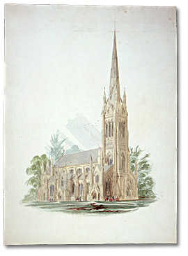 Aquarelle : St. James Cathedral, Toronto, [vers 1858-1860]