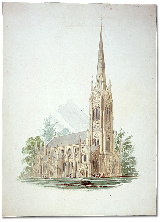 Watercolour: St. James Cathedral; watercolour persective, looking north, [ca. 1858-ca. 1860]