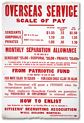 Affiche de guerre  - Le fonds patriotique canadien : Overseas Service Scale of Pay [Canada], [entre 1914 et 1918]