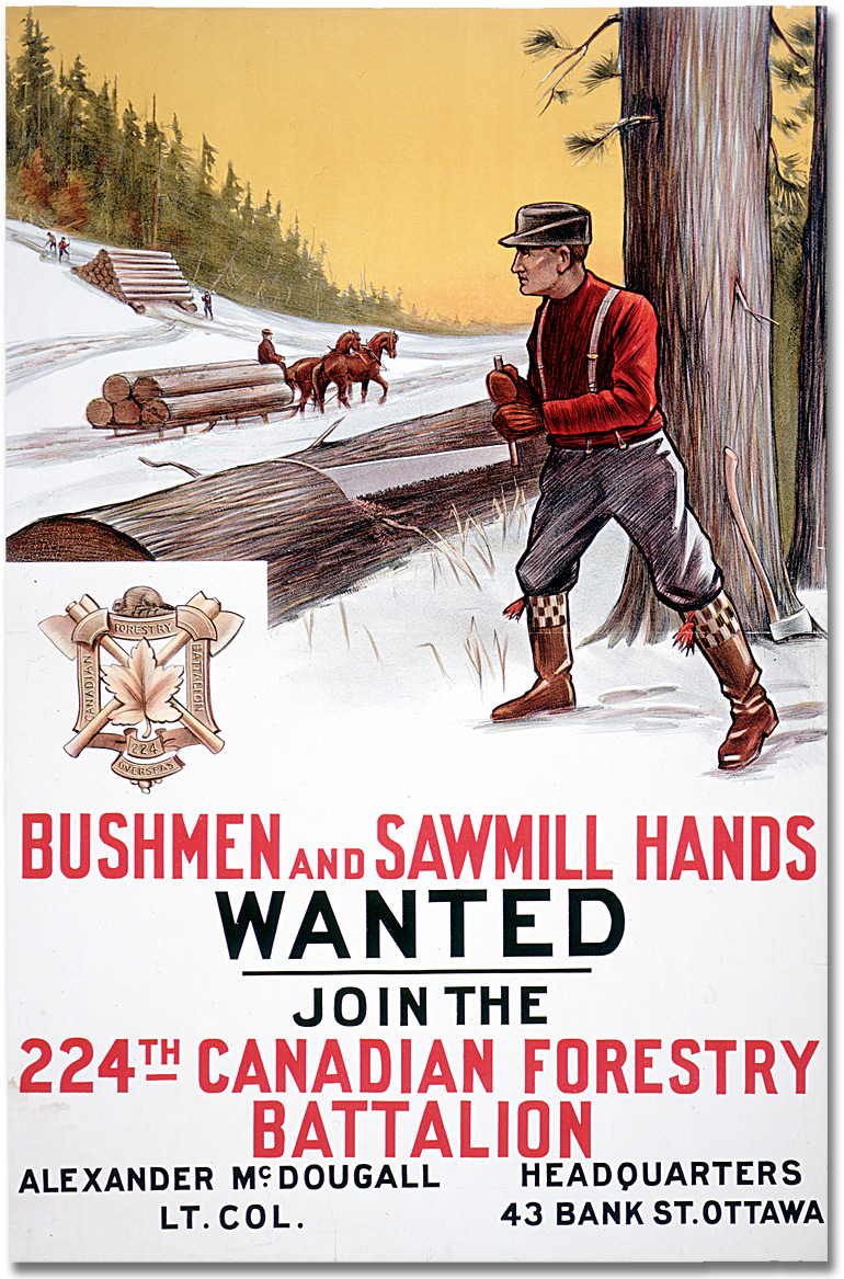 Affiche de guerre - Recrutement : Bushmen and Sawmill Hands Wanted [Canada], [entre 1914 et 1918]