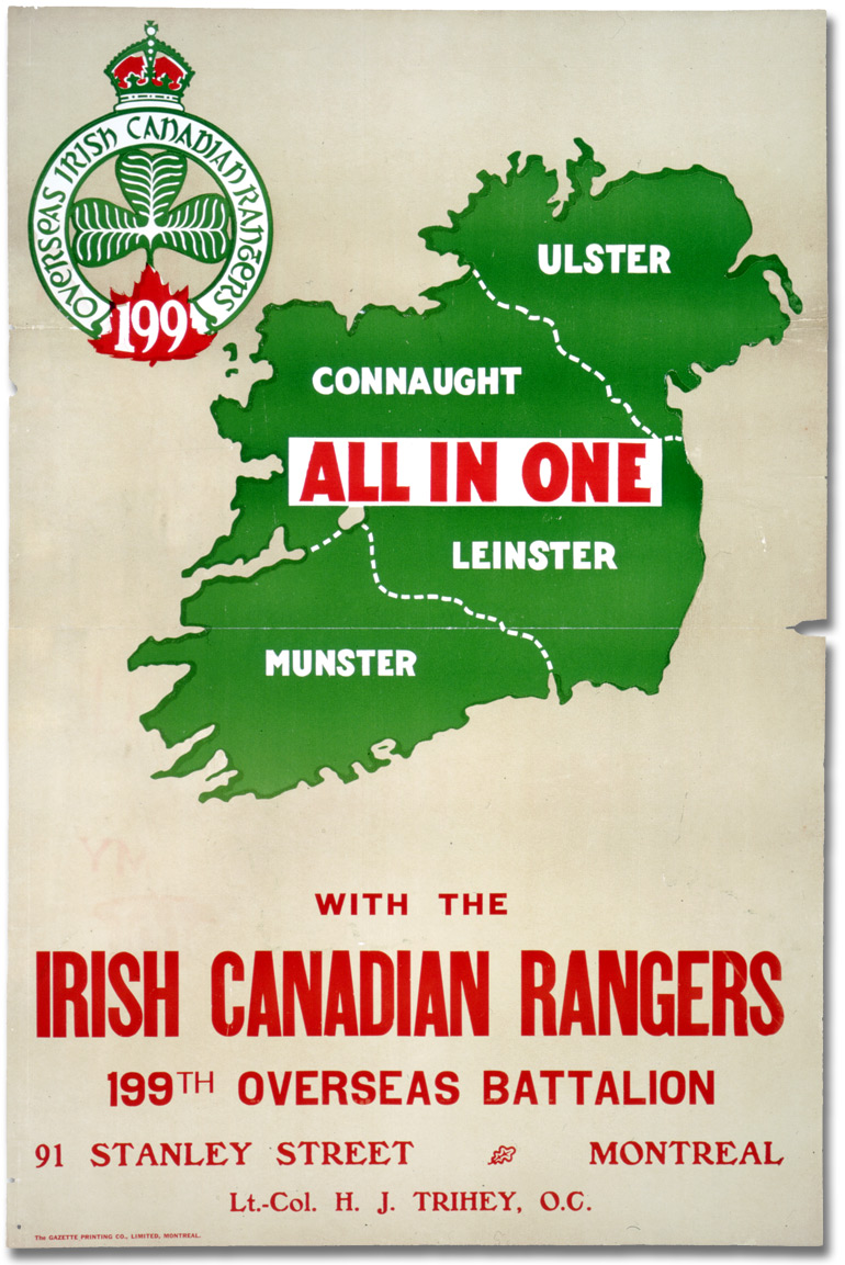 Affiche de guerre recrutement all in one with the irish canadian rangers canada for Poster et affiche
