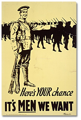 War Poster - Recruitment: Here's Your Chance - It's Men We Want ...