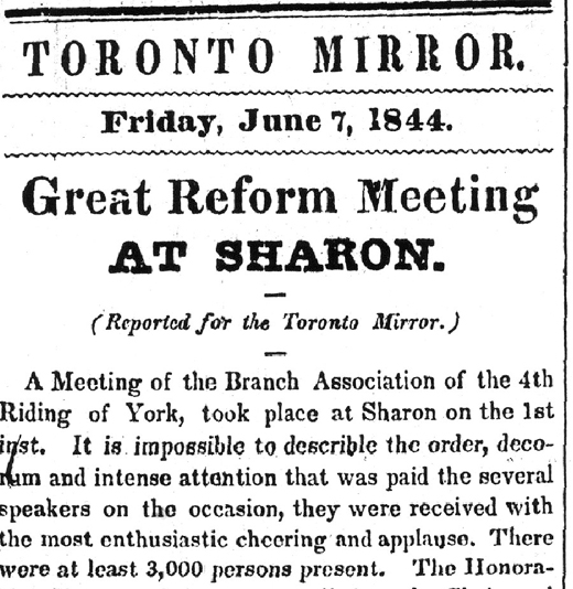 Toronto Mirror: Great Reform Meeting at Sharon, le 7 juin 1844