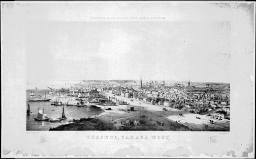 Lithographie : Whitefield's original views of North American cities, no. 30: Toronto, Canada West: from the top of the jail, 1854