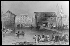 Photograph of a painting showing a Toronto harbour scene at the foot of Church Street, 1850