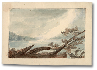 Lavis sur papier : Chippiwa - The spray of Niagara Falls, [vers 1795] (détail)