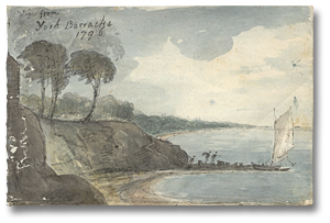 Dessin : View From York Barracks, 1796 (détail)