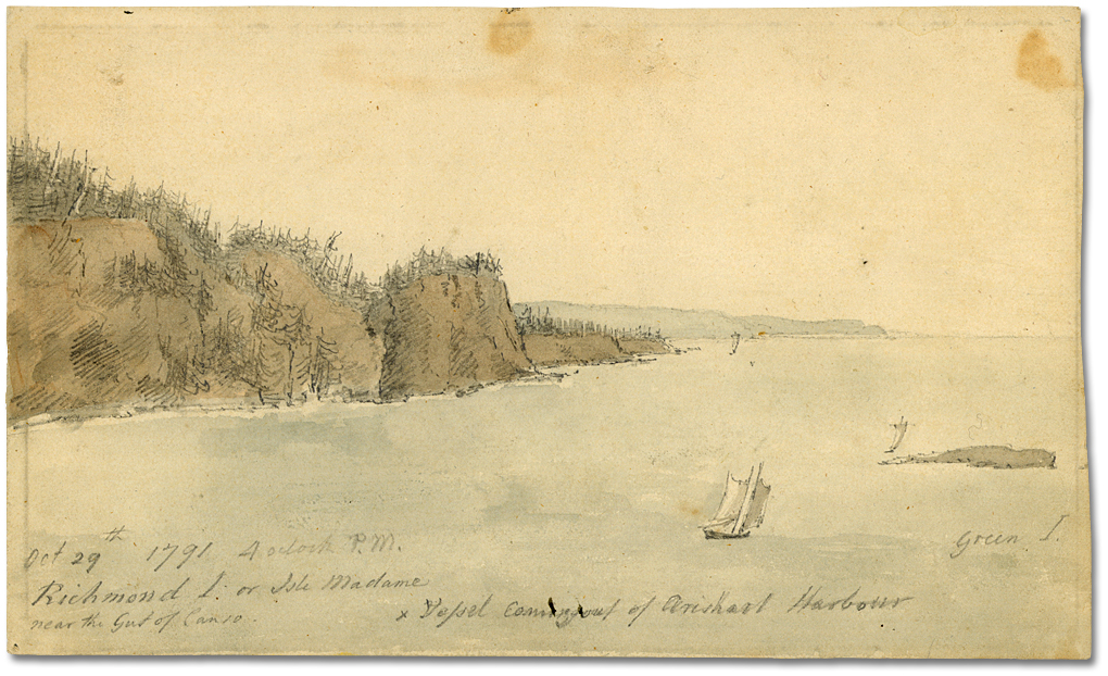 Aquarelle : October 29th 1792, 4 o'clock P.M. Richmond I or Isle Madame near the Gut of Canso. Vessel coming out of Arishart Habor [Newfoundland]