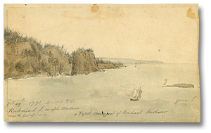 Aquarelle : October 29th 1792, 4 o'clock P.M. Richmond I or Isle Madame near the Gut of Canso. Vessel coming out of Arishart Habor [Newfoundland], 1791 (détail)