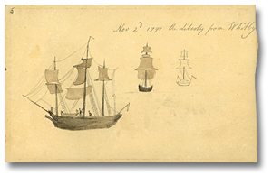 Dessin : Nov 2nd, 1791 - The Liberty from Whitby (détail)