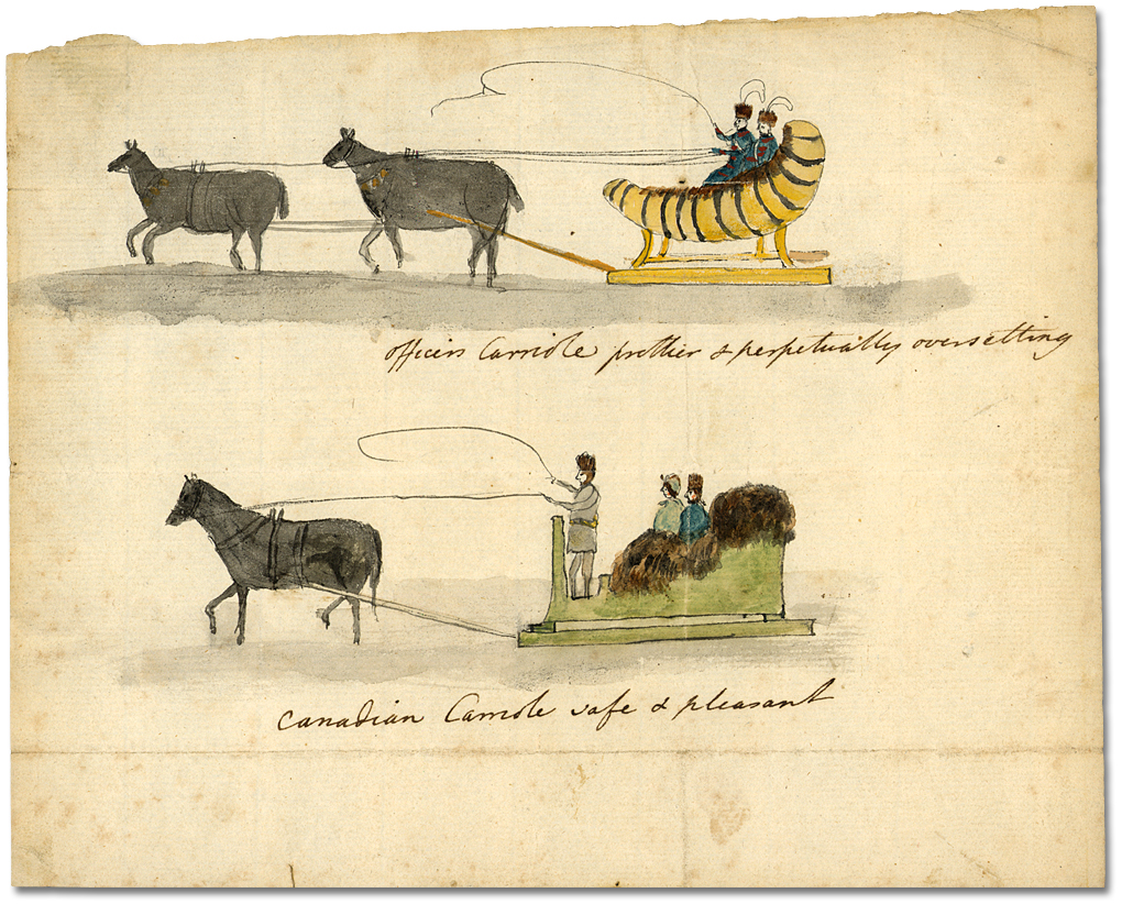 Aquarelle : Officers and Canadian Carrioles, [vers 1792]
