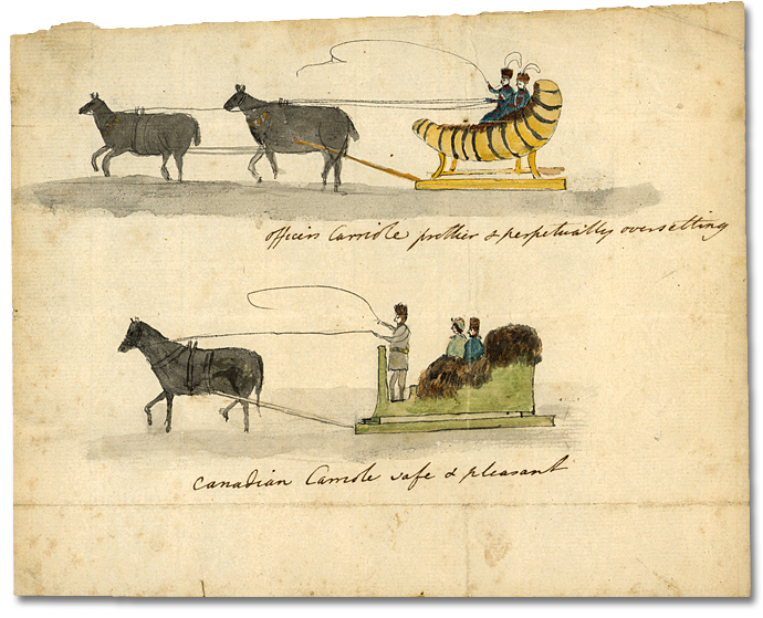 Officers and Canadian Carrioles, [vers 1792] (détail)