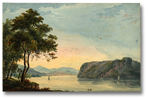 Lavis sur papier : A Bend in the St. Lawrence, [vers 1792] (détail)