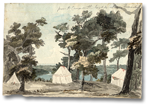 Lavis sur papier : From the Camps on the heights above Queenstown, 9 juillet 1793 (détail)