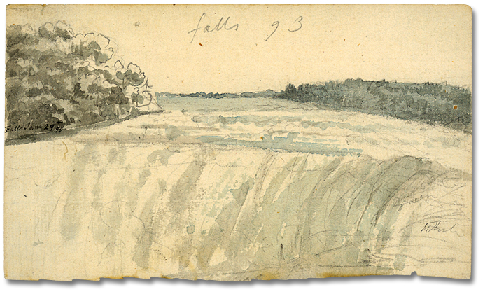 Aquarelle : View of the falls, 29 juin 1793 (détail)