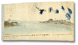 Lavis sur papier : Navy Hall, the part is the canvas house b) The fort at Niagara c) A large arbour in the HiIl d) Toronto Shore, [vers 1793] (détail)