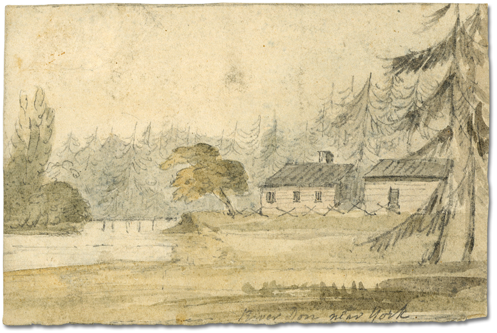 Dessin : River Don near York and John Scadding's Cabin, Autumn, 1793