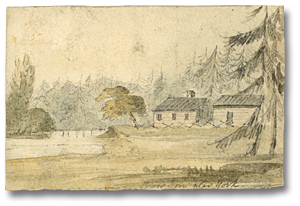 Dessin : River Don near York and John Scadding's Cabin, Autumn, 1793 (détail)