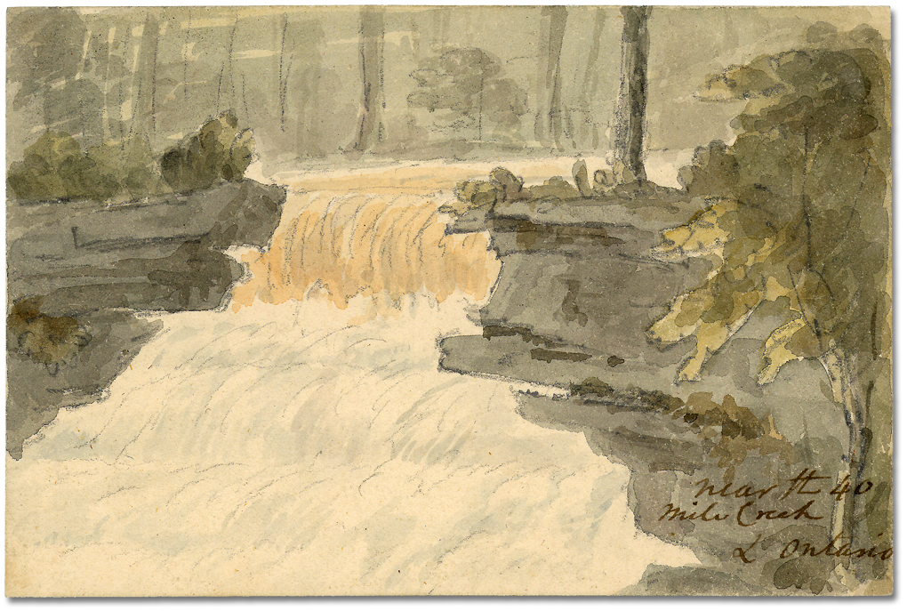 Lavis sur papier : Near the 40 Mile Creek L. Ontario, [vers 1794]
