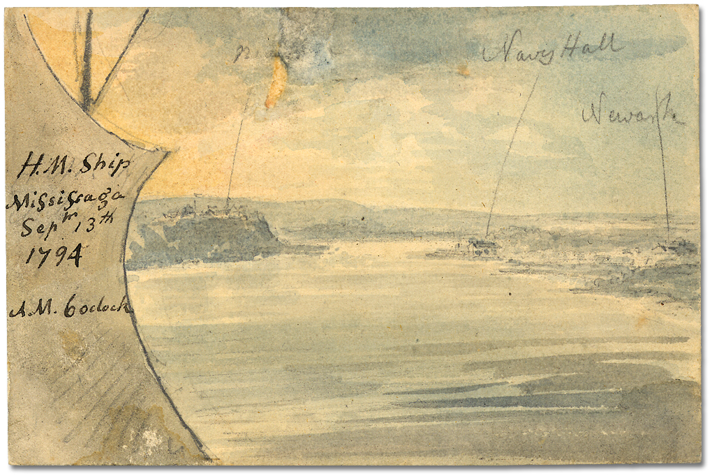 Lavis sur papier : His Majesty's Ship Mississauga; Niagara, Navy Hall, Newark; Sept. 13, 1794, 6 o'clock AM
