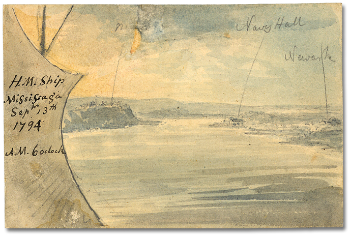Lavis sur papier : His Majesty's Ship Mississauga; Niagara, Navy Hall, Newark; Sept. 13, 1794, 6 o'clock AM (détail)