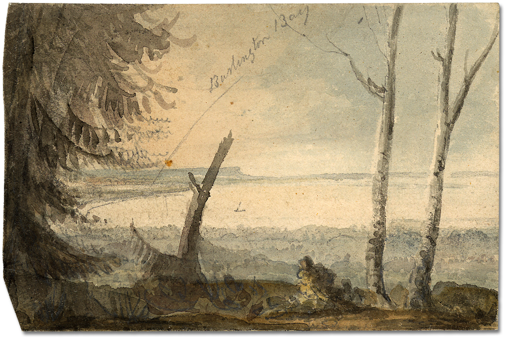 Lavis sur papier : Burlington Bay, Lake Ontario, 10 juin 1796